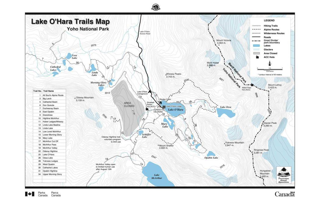Lake O'Hara map